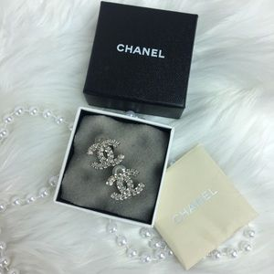 AUTH CHANEL LARGE CC SQUARE CRYSTAL STUDS